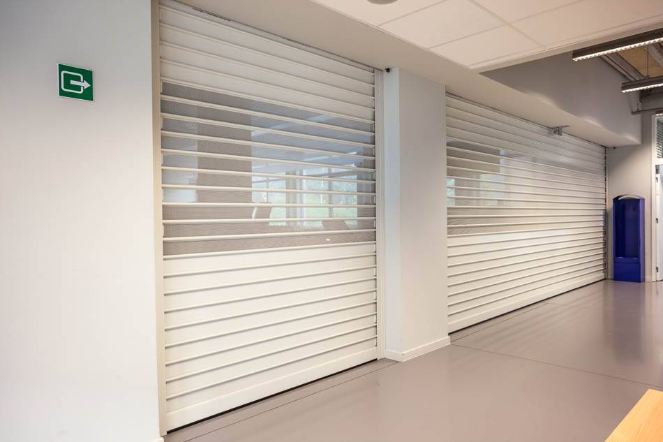 these roller shutters are closed on a high day
