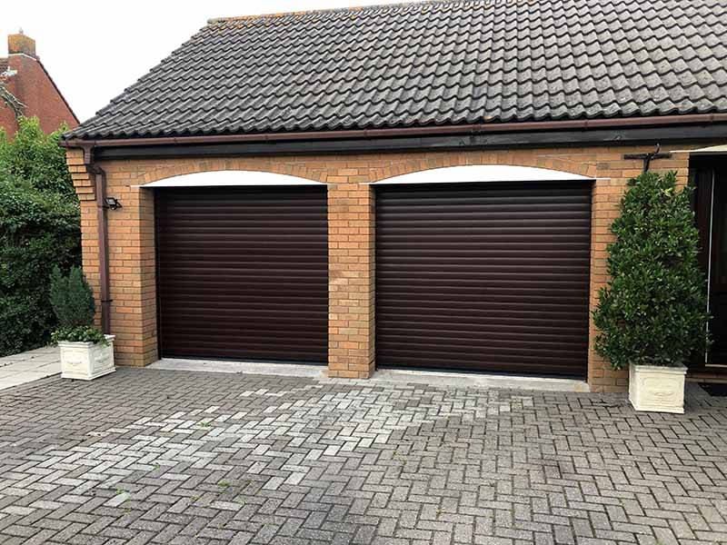double roller doors brown